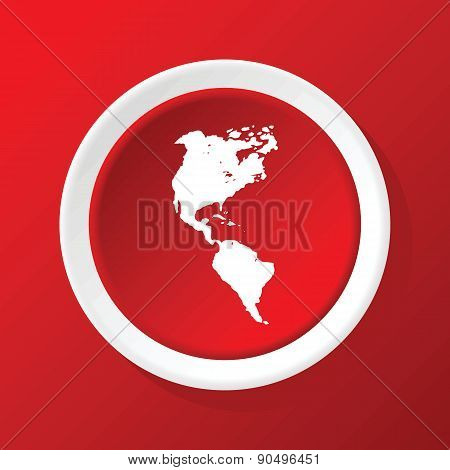 Continents icon on red