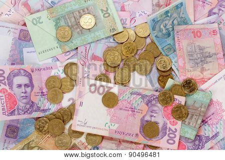 Ukrainian coins and money bills