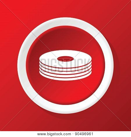 Disc pile icon on red