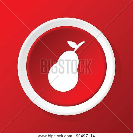 Pear icon on red