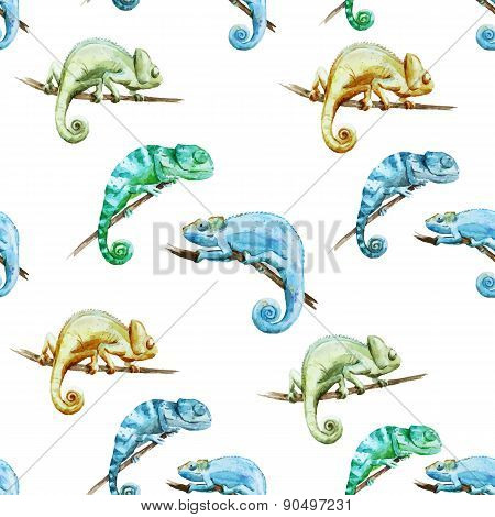 Watercolor vector pattern reptiles chameleon