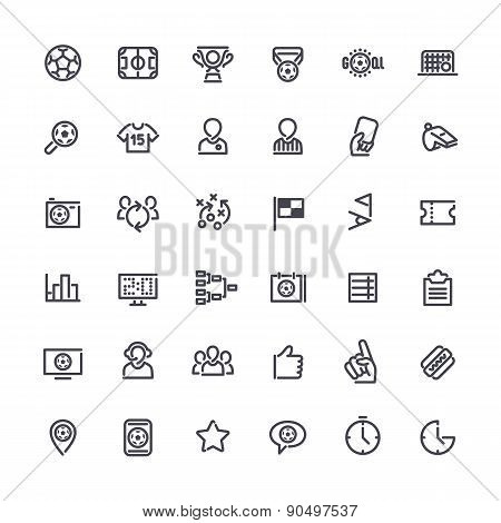 Outline Vector Icons on the Theme of Soccer
