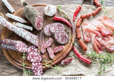 Different Kinds Of Sausage On The Wooden Background