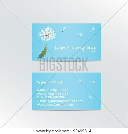 Business card with dandelion on blue background.