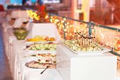 stock photo of canapes  - Luxury food on wedding table  - JPG