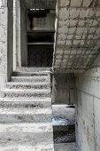 pic of concrete  - View of the Concrete stairs and concrete blocks in an unfinished House - JPG