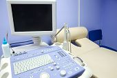stock photo of ultrasound machine  - Interior of examination room with ultrasonography machine in hospital - JPG