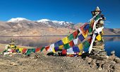 pic of jammu kashmir  - Tso Moriri Lake with prayer flags  - JPG
