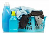 image of detergent  - Clothes with detergent and washing powder in plastic basket isolated on white - JPG