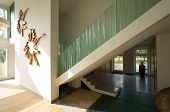 foto of balustrade  - Horizontal view of staircase with glass balustrade - JPG