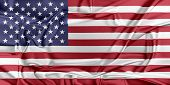 stock photo of waving  - Flag of United States waving in the wind - JPG