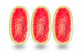 pic of watermelon slices  - Slice of watermelon isolated on white background - JPG