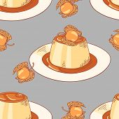 image of dessert plate  - Creme caramel on plate seamless pattern in vector - JPG