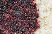 foto of home-made bread  - Bread with mulberry jam background - JPG