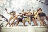 image of boat  - group of friends making party on the boat - JPG
