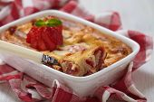 foto of cheesecake  - Strawberry crepes roll baked with cheesecake sauce - JPG