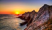 pic of promontory  - Beautiful sunset on the Pointe du Raz located on Finistere coast in Brittany north - JPG