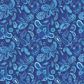 image of indigo  - Seamless ethnic background in indigo shadows with eastern ornaments  - JPG
