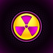 pic of radium  - Glowing sign of radiation with a pattern on a circle on a dark background - JPG