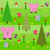 stock photo of baby pig  - Seamless green background with a pattern of funny cartoon happy pink pig art - JPG