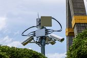 picture of cctv  - Security cctv camera in front of blue sky - JPG