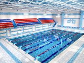 foto of grandstand  - 3D Illustration Of Interior Of Public Swimming Pool - JPG