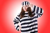 pic of prison uniform  - Convict criminal in striped uniform - JPG