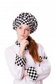 image of pinafore  - Female chef isolated on white - JPG