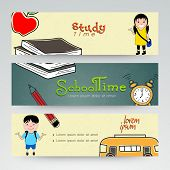 image of time study  - Set of three website header or banner of school time - JPG