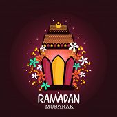 image of ramadan mubarak  - Illuminated beautiful lantern decorated with colorful flowers on purple background for Islamic holy month of prayers Ramadan Mubarak celebrations - JPG