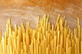 stock photo of pasta  - Photo of fresh uncooked strands of linguine pasta - JPG