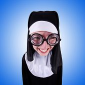 stock photo of nun  - Funny nun isolated on the white background - JPG