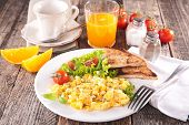 stock photo of scrambled eggs  - scrambled egg with orange juice and coffee - JPG