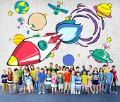 image of outerspace  - Rocket Launch Space Outerspace Planets Concept - JPG