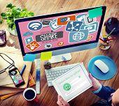 picture of social system  - Creative Share Social Media Social Network Internet Online Concept - JPG