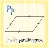 picture of parallelogram  - Flashcard letter P is for parallelogram with yellow background - JPG