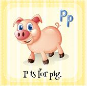 stock photo of letter p  - Flashcard letter P is for pig with yellow background - JPG