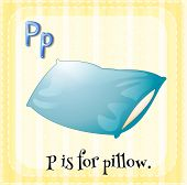 picture of letter p  - English flashcard letter P is for pillow - JPG