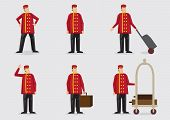 image of porter  - Set of six vector illustration of the character of a doorman or porter wearing red double - JPG