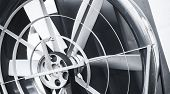 picture of black-belt  - Hovercraft propeller with traction belt close up black and white fragment - JPG