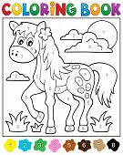 picture of paint horse  - Coloring book with horse  - JPG