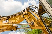 picture of hydraulics  - Detail of hydraulic bulldozer piston excavator arm construction machinery - JPG