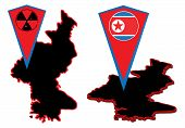 picture of emplacements  - Vector North Korea maps and markers for map - JPG