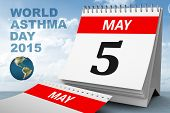 image of asthma  - world asthma day against blue sky - JPG