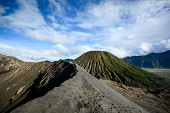 foto of bromo  - Crater rim of active volcano Gunung Bromo in Java Indonesia - JPG