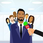 picture of interview  - Businessmen Leader Give Interview Tv Microphone Group of People Collegues Team Flat Design Vector Illustration - JPG