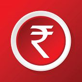 stock photo of indian money  - Round white icon with image of Indian rupee - JPG