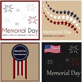 foto of memorial  - Set of backgrounds with text and elements for memorial day - JPG