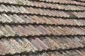 picture of roof tile  - Old roof with ceramic tiles closeup in sunny day