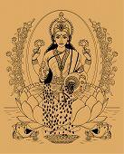 pic of lakshmi  - Indian goddess Lakshmi sitting in the lotus on a beige background - JPG